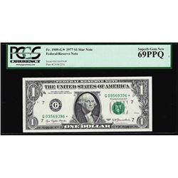 1977 $1 Federal Reserve STAR Note Fr.1909-G* PCGS Superb Gem New 69PPQ
