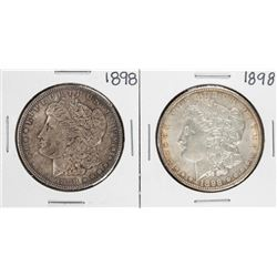 Lot of (2) 1898 $1 Morgan Silver Dollar Coins
