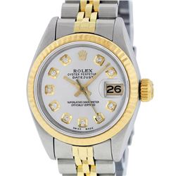 Rolex Ladies Two Tone 14K Silver Diamond 26MM Datejust Wristwatch