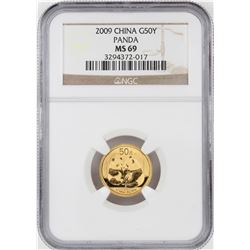 2009 China 50 Yuan Panda Gold Coin NGC MS69