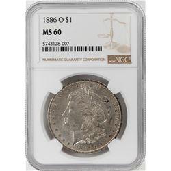 1886-O $1 Morgan Silver Dollar Coin NGC MS60