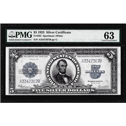 1923 $5 Porthole Silver Certificate Note Fr.282 PMG Choice Uncirculated 63