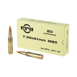 PPU 7.62X51 145GR M80 FMJBT - 200 Rds