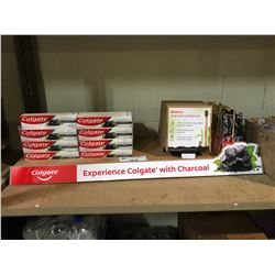 COLGATE ESSENTIALS TOOTH PASTE WITH CHARCOAL & COLGATE CHARCOAL TOOTH BRUSHES