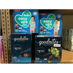 2 BOXES OF PAMPERS THOMAS & FRIENDS EASY UPS TRAINING UNDERWEAR (4T-5T) & 2 BOXES OF GOODNITES