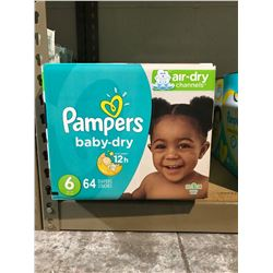 2 BOXES OF PAMPERS BABY DRY DIAPERS (SIZE 6)