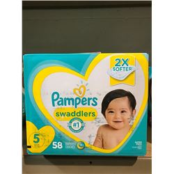 2 BOXES OF PAMPERS SWADDLERS (SIZE 5)