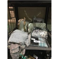TRAVEL HANG BAG, GROMMET PANELS, CUSHION COVER & ASSORTED SHEETS, ETC