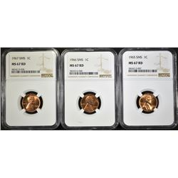 1965, 66 & 67 SMS LINCOLN CENTS, NGC MS-67 RED