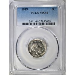 1919 BUFFALO NICKEL PCGS MS-64