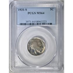 1931-S BUFFALO NICKEL PCGS MS-64