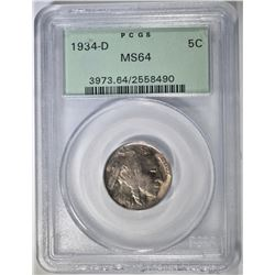 1934-D BUFFALO NICKEL PCGS MS-64 OGH
