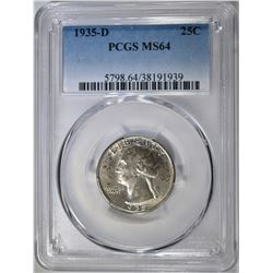 1935-D WASHINGTON QUARTER PCGS MS-64