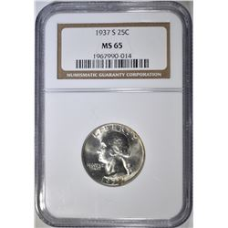 1937-S WASHINGTON QUARTER NGC MS-65