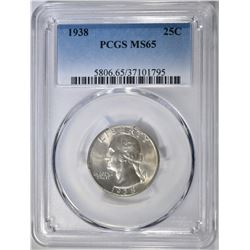 1938 WASHINGTON QUARTER, PCGS MS-65