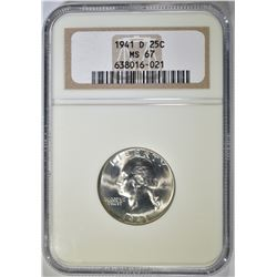 1941-D WASHINGTON QUARTER NGC MS-67