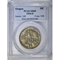 1934-D OREGON TRAIL COMMEM HALF PCGS MS-65
