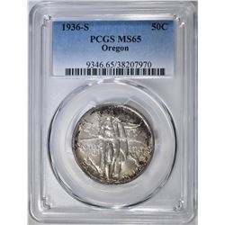 1936-S OREGON TRAIL COMMEM HALF PCGS MS-65
