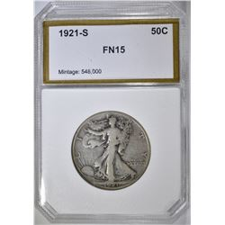 1921-S WALKING LIBERTY HALF PCI FINE