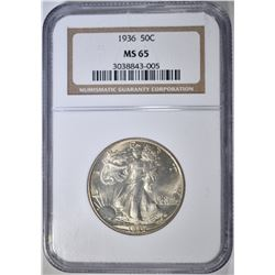 1936 WALKING LIBERTY HALF NGC MS-65