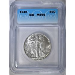 1942 WALKING LIBERTY HALF ICG MS-66