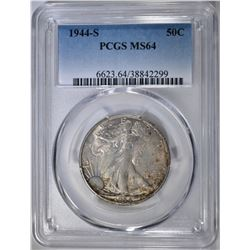 1944-S WALKING LIBERTY HALF PCGS MS-64