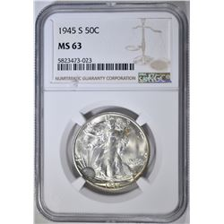 1945-S WALKING LIBERTY HALF NGC MS-63