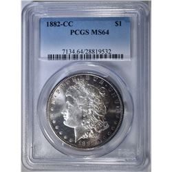 1882-CC MORGAN DOLLAR PCGS MS-64 COLOR