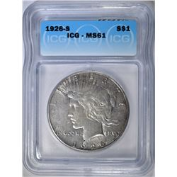 1926-S PEACE DOLLAR ICG MS-61