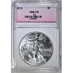 2013 AMERICAN SILVER EAGLE, PNA PERFECT GEM BU