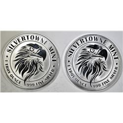 "2-""MIGHTY EAGL"" 1-Oz .999 SILVER ROUNDS"