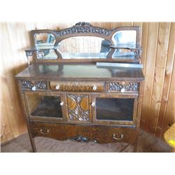 ANTIQUE MIRRORED, BACK SIDEBOARD W/CLAW FEET