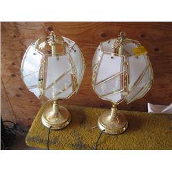 2 BRASS & GLASS LAMPS