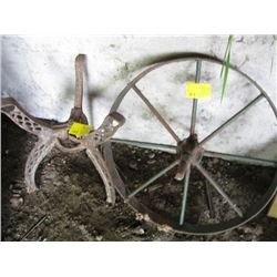 OLD WHEEL W/CAST STAND