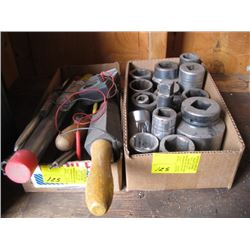 "2 BOXES ASSORTED TOOLS, 3/4"" & 1"" DRIVE SOCKETS"