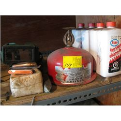 FIRE EXTINGUISHER, GOGGLES, WELDING ROD, FIRE STARTER