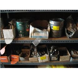 2 SHELVES OF MISC. NAILS, NUTS & BOLTS, ETC.