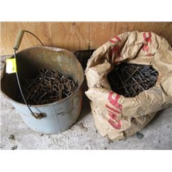 BUCKET & BAG OF LARGE NAILS