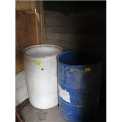 2 PLASTIC OPEN TOP BARRELS