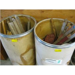 2 ROUND BINS W/ASSORTED STAKES