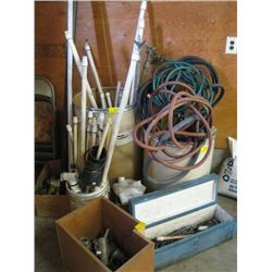 LOT OF MISC. HOSES, PVC PIPE, FITTINGS, ETC.