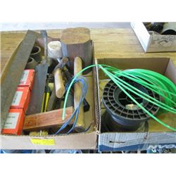 BOX OF ASSORTED WEEDEATER LINE & BOX OF TOOLS
