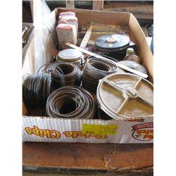 BOX OF TAPE MEASURES, WIRE, ETC.