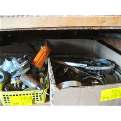 LOT OF MISC. LARGE HOSE CLAMPS, ETC.