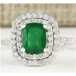 2.44 CTW Natural Emerald And Diamond Ring In 14k White Gold
