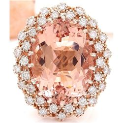 17.28 CTW Natural Morganite 14K Solid Rose Gold Diamond Ring
