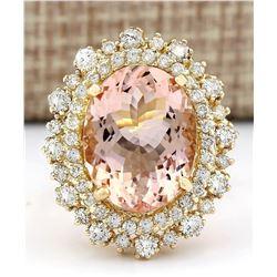 10.15 CTW Natural Morganite 18K Solid Yellow Gold Diamond Ring