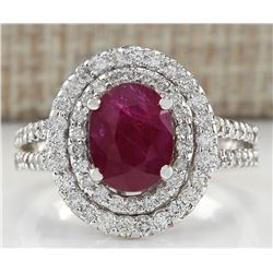 3.44 CTW Natural Ruby And Diamond Ring 18K Solid White Gold