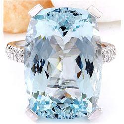 16.55 CTW Natural Aquamarine 18K Solid White Gold Diamond Ring