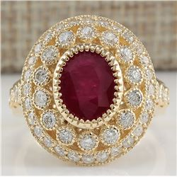 3.64 CTW Natural Ruby Diamond Ring 18K Solid Yellow Gold